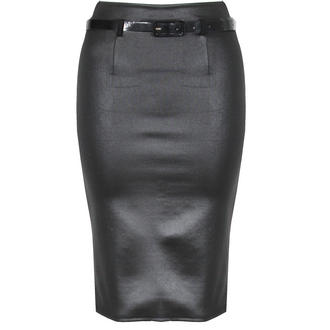 View Item Black Wet Look Belted Pencil Skirt